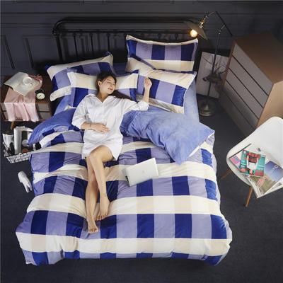 双面水晶绒四件套 标准1.5m-1.8m床 悦格-蓝