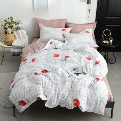 2018新款北欧风格四件套 1.0m-1.2m床 文艺草莓