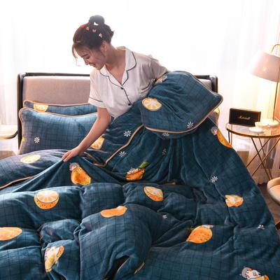2019新款包边款法莱绒单被套 150x200cm 格子橙