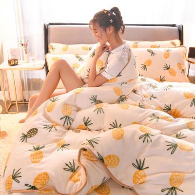 2019新款包边款法莱绒四件套(200克法莱绒金貂绒牛奶绒) 1.0m-1.2m床单款三件套 菠萝蜜