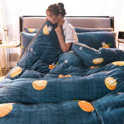 2019新款包边款法莱绒四件套(200克法莱绒金貂绒牛奶绒) 1.0m-1.2m床单款三件套 格子橙