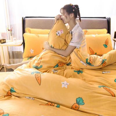 2019新款包边款法莱绒四件套(200克法莱绒金貂绒牛奶绒) 1.0m-1.2m床单款三件套 胡萝卜-黄