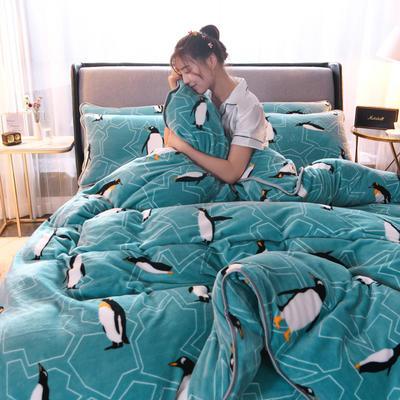 2019新款包边款法莱绒四件套(200克法莱绒金貂绒牛奶绒) 1.0m-1.2m床单款三件套 快乐企鹅
