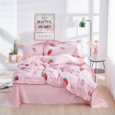 2020款全棉花边四件套床单款床笠款 床单款1.2床 慕斯草莓