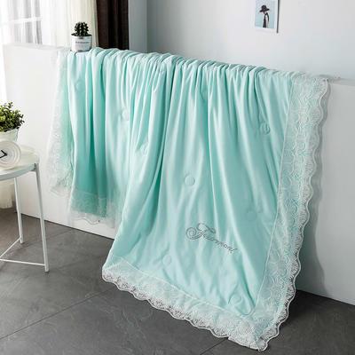 法式天丝夏凉被芯蕾丝夏被纯色可机洗双人空调被子丝滑薄被 150*200cm 水绿
