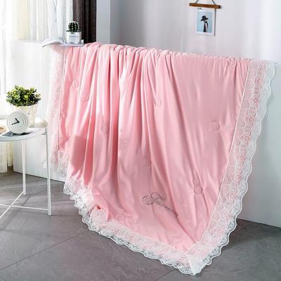 2019新款法式天丝空调被莫代尔蕾丝夏凉被双人夏被可水洗薄被子被芯 同款枕套一对 粉玉色