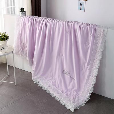 2019新款法式天丝空调被莫代尔蕾丝夏凉被双人夏被可水洗薄被子被芯 同款枕套一对 浅紫