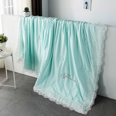 2019新款法式天丝空调被莫代尔蕾丝夏凉被双人夏被可水洗薄被子被芯 同款枕套一对 水绿