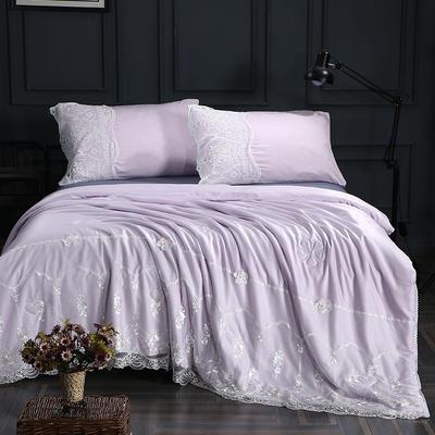 60支天丝莫代尔夏被双人冰丝空调被可水洗蕾丝花边薄被芯 150*200cm 梦露-浅紫