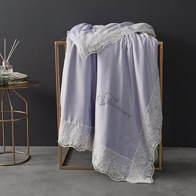 60支天丝夏凉被双人空调被夏季双面可水洗蕾丝花边薄被子 150x200cm 法式-香芋紫