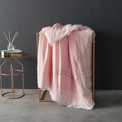 60支天丝夏凉被双人空调被夏季双面可水洗蕾丝花边薄被子 150x200cm 法式-粉玉色