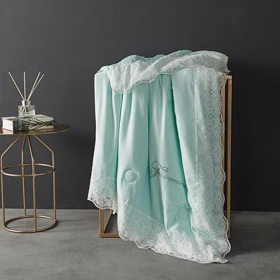 60支天丝夏凉被双人空调被夏季双面可水洗蕾丝花边薄被子 150x200cm 法式-水绿色