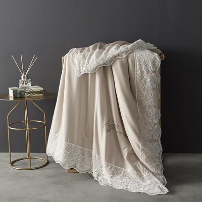 法式蕾丝夏被薄被子天丝莫代尔裸睡双人空调被夏凉被可水洗夏季 150x200cm 法式-卡其色