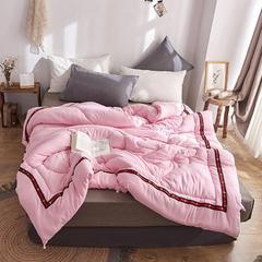 新款被子冬被纯色水洗棉春秋被加厚保暖超柔棉被双人纯棉被芯 150x200cm春秋被4斤 小蜜蜂-粉色