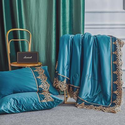 2019新款法式天丝夏凉被蕾丝空调被芯欧式烫钻莱赛尔夏被 同款枕套一对 宝石蓝