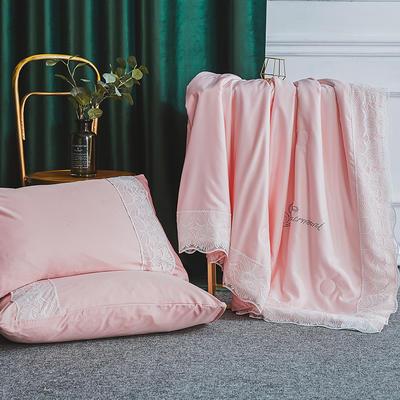 2019新款法式天丝夏凉被蕾丝空调被芯欧式烫钻莱赛尔夏被 220x240cm 粉玉色