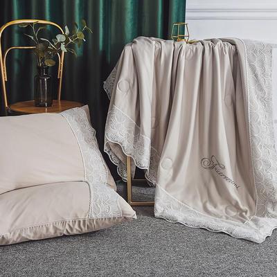 2019新款法式天丝夏凉被蕾丝空调被芯欧式烫钻莱赛尔夏被 220x240cm 卡其色