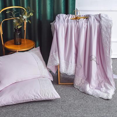 2019新款法式天丝夏凉被蕾丝空调被芯欧式烫钻莱赛尔夏被 220x240cm 浅紫色