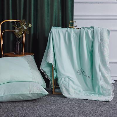 2019新款法式天丝夏凉被蕾丝空调被芯欧式烫钻莱赛尔夏被 220x240cm 水绿色