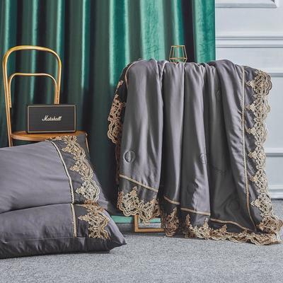 2019新款法式天丝夏凉被蕾丝空调被芯欧式烫钻莱赛尔夏被 220x240cm 时尚灰