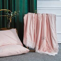 2019新款法式天丝夏凉被蕾丝空调被芯欧式烫钻莱赛尔夏被 同款枕套/一对 香槟色