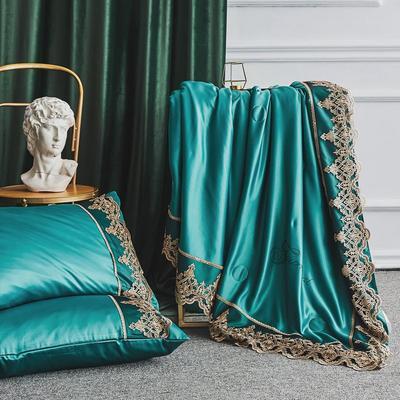 2019新款莱赛尔天丝夏被法式蕾丝空调被亮钻公主夏凉被三件套 220x240cm 法式【孔雀绿】