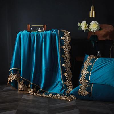 2019新款莱赛尔天丝夏被法式蕾丝空调被亮钻公主夏凉被三件套 220x240cm 法式【宝石蓝】