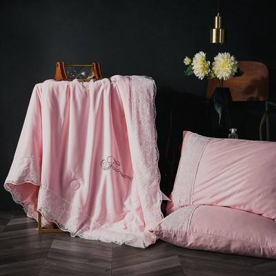 2019新款莱赛尔天丝夏被法式蕾丝空调被亮钻公主夏凉被三件套 220x240cm 法式【粉玉色】