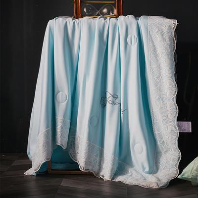 2019新款莱赛尔天丝夏被法式蕾丝空调被亮钻公主夏凉被三件套 220x240cm 法式【天蓝】