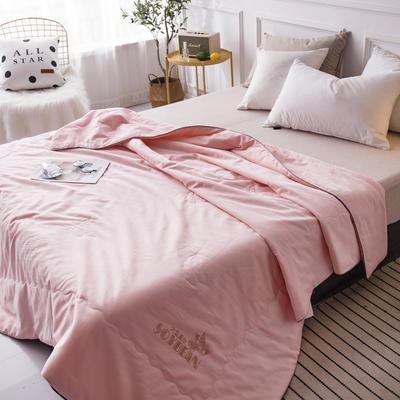 新款全小提花大豆纤维空调被夏凉被纯棉夏天单双人夏季薄被子夏被芯 200X230cm 粉色