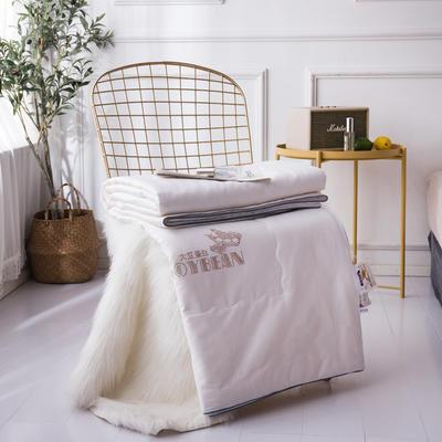 新款全棉夏凉被子单人空调被芯双人夏薄被可水洗纯棉提花大豆夏被 200X230cm 白色