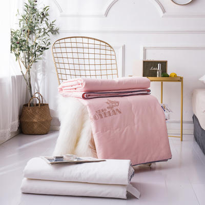 新款全棉夏凉被子单人空调被芯双人夏薄被可水洗纯棉提花大豆夏被 200X230cm 粉色
