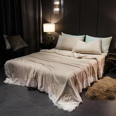 2019新款法式天丝空调被莫代尔蕾丝夏凉被双人夏被可水洗薄被子被芯 同款枕套一对 法式米驼