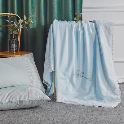 法式60支双面天丝夏被蕾丝夏凉被可水洗机洗空调被夏季双人薄被子 150x200cm 法式-天蓝