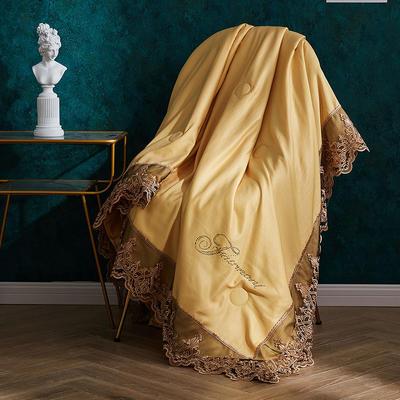 法式60支双面天丝夏被蕾丝夏凉被可水洗机洗空调被夏季双人薄被子 150x200cm 法式-至尊黄