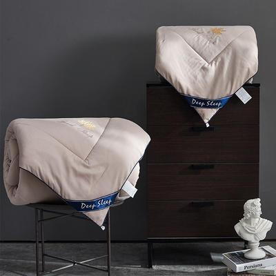 2019新款春秋被二合一被子子母被芯双人1.8米床品冬厚被纤维保暖被子 150x200cm(4+4斤) 枫叶-卡其