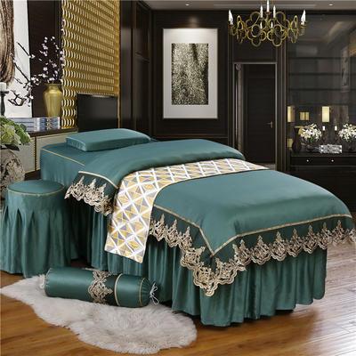 奢华天丝棉蕾丝美容床罩四件套美体按摩床罩美容院会所 私人订制 私人订制 联系客服 蕾丝款(孔雀绿)