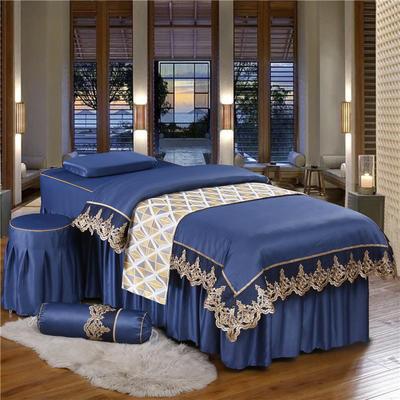 奢华天丝棉蕾丝美容床罩四件套美体按摩床罩美容院会所 私人订制 私人订制 联系客服 蕾丝款(宝石蓝)