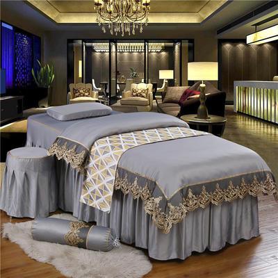 奢华天丝棉蕾丝美容床罩四件套美体按摩床罩美容院会所 私人订制 私人订制 联系客服 蕾丝款(时尚灰)