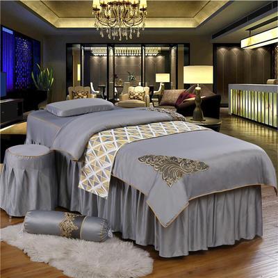 奢华天丝棉蕾丝美容床罩四件套美体按摩床罩美容院会所 私人订制 私人订制 联系客服 金边款(时尚灰)