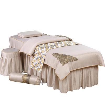 奢华天丝棉蕾丝美容床罩四件套美体按摩床罩美容院会所 私人订制 私人订制 联系客服 金边款(卡其色)