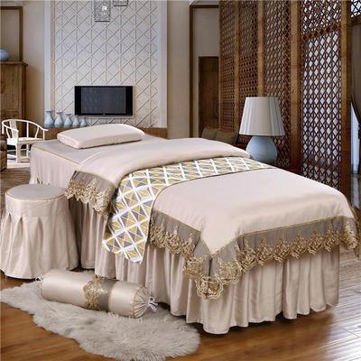 奢华天丝棉蕾丝美容床罩四件套美体按摩床罩美容院会所 私人订制 私人订制 联系客服 蕾丝款(卡其色)