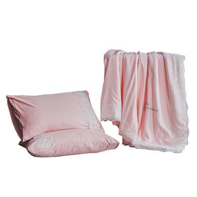 2021新款-蕾丝夏被天丝空调被芯夏凉被子天丝夏被三件套夏被四件套 150x200cm 粉玉色