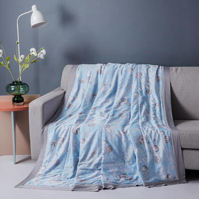 40S天丝镂空夏凉被子三件套夏天空调被芯天丝夏被四件套 200X230cm 蘑菇蓝