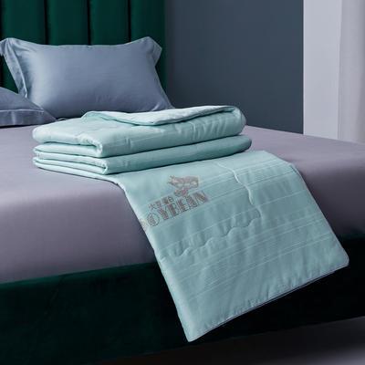 新款全棉夏凉被子纯棉大豆夏被提花空调被芯 200X230cm 绿色