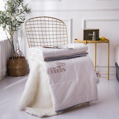 新款全棉夏凉被子纯棉大豆夏被提花空调被芯 200X230cm 白色