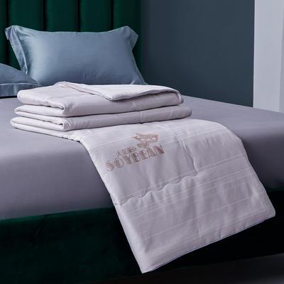新款全棉夏凉被子纯棉大豆夏被提花空调被芯 200X230cm 灰色