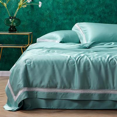 新款60支天丝玻尿酸夏凉被纯色工艺款空调被芯夏被三件套夏被四件套 200X230cm 蔚蓝