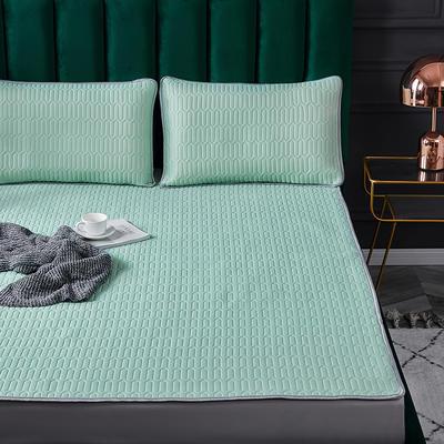 新款凉感丝乳胶凉席三件套冰丝席子酷赛尔乳胶席乳胶垫子 1.2x2.0m床 水绿