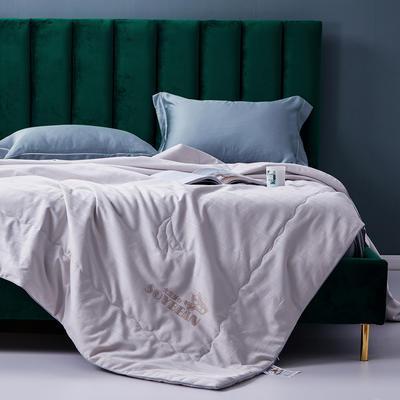 2020新款全棉提花夏凉被纯棉空调被 大豆纤维双人薄被子夏天可水洗夏被 200X230cm 灰色